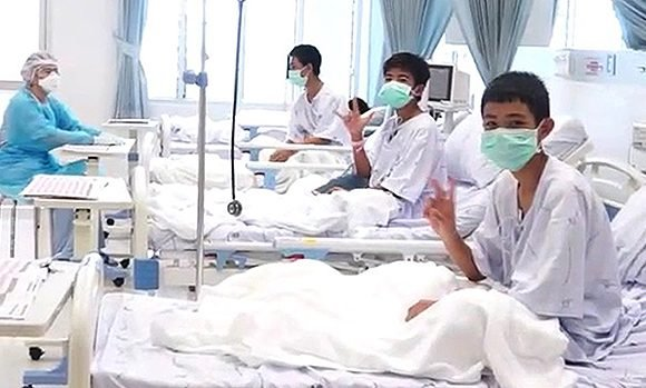 Thailand Cave Rescue: 1st Hospital Video Shows Boys In Seemingly Good Spirits After Evacuation