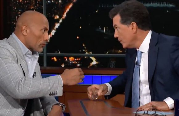 The Rock Sings for Stephen Colbert After Ripping Tequila and Explaining He's 'Not Delusional' About Being President