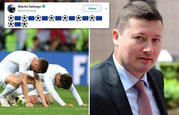 Smug European Commission boss Martin Selmayr slammed for gloating tweet celebrating the EU after England's heartbreaking World Cup defeat