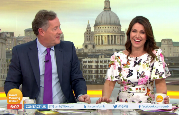 Susanna Reid blushes as Piers Morgan asks if she is 'adventurous in bed' during saucy Good Morning Britain chat