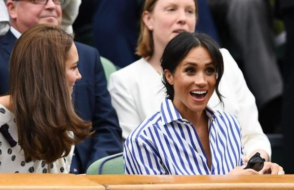 Meghan Markle and Kate Middleton giggle together after ball almost hits them in royal box as Novak Djokovic beats Rafael Nadal at Wimbledon