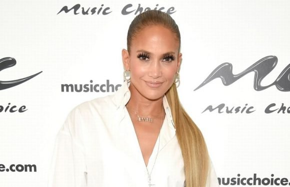 Jennifer Lopez steps out in a pair of denim thigh high boots