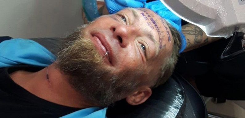 Brit stag do lads pay homeless man to get groom's name tattooed on forehead