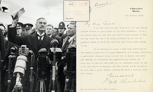 Letter from PM Neville Chamberlain sells for £36,000