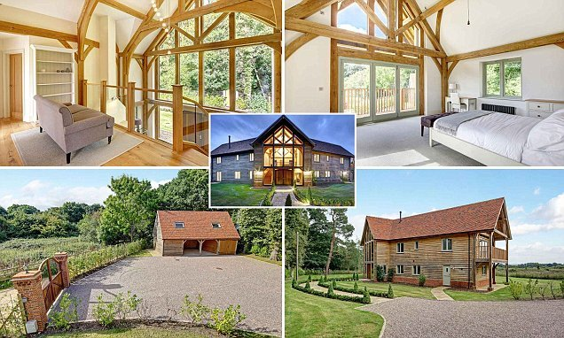 Barn-style home that looks onto golf course on market for £1.5million