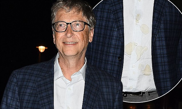 Bill Gates suffers a wardrobe mishap as he sports a stained shirt