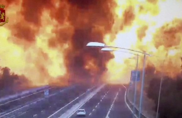 Moment petrol tanker slams into truck causing huge explosion in Italy