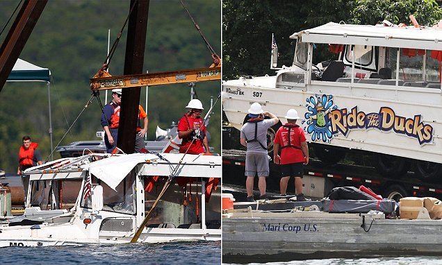 NTSB duck boat accident killed 17, sank 15ft before rolling 70ft deep