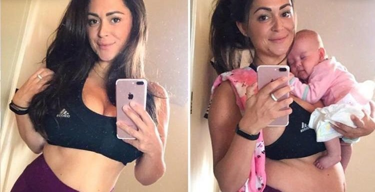 Casey Batchelor admits she's still 'carrying a lot of extra weight' after pregnancy as she shares 'Instagram Vs real life' snap