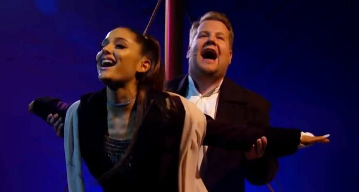Ariana Grande and James Corden Join Forces Singing 13 Soundtracks to 'Titanic' on 'Late Late Show'