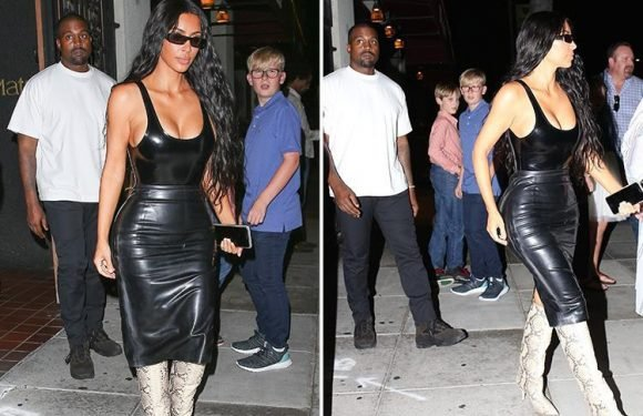 Kim Kardashian turns heads in an eye-popping latex outfit on romantic date night with Kanye West in Beverly Hills