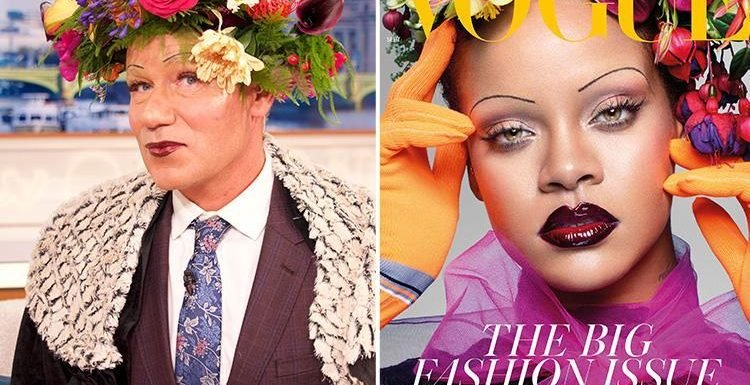 Good Morning Britain's Richard Arnold recreates Rihanna's Vogue cover with THOSE eyebrows and has everyone in stitches