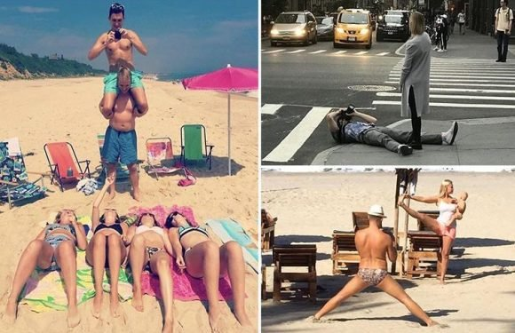 The men who are forced to go to extreme lengths to take 'perfect' photos of their girlfriends, from getting piggy backs to lying in the road
