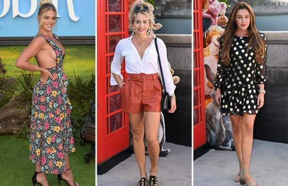 Love Island's Laura Crane flashes sideboob in revealing dress as she joins Michelle Heaton and Lydia Bright at premiere