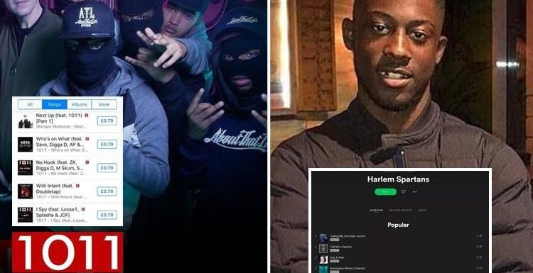 Spotify and Apple selling banned violent drill music and tracks by rap group Harlem Spartans days after member was stabbed to death