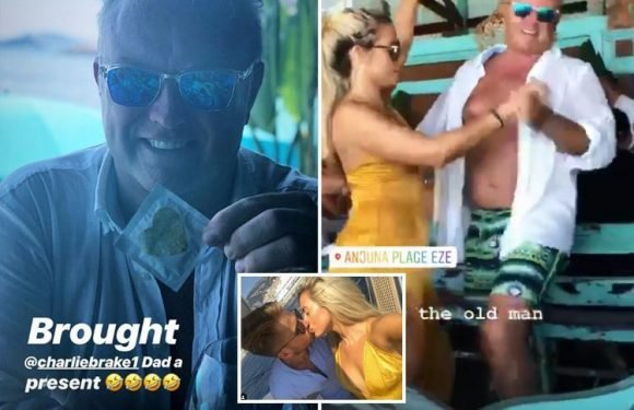 Cheeky Ellie Brown wins over Charlie Brake's millionaire dad on Monaco trip by giving him a Love Island condom after outing on family yacht in Monaco