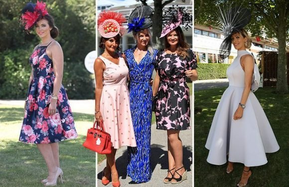 Glorious Goodwood ladies arrive in style in bold and beautiful dresses and outlandish hats