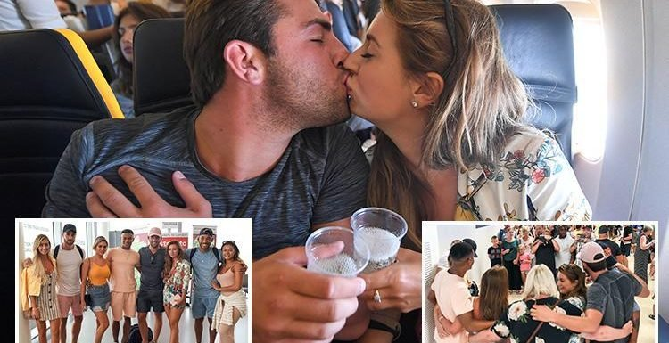 Love Island's four final couples mobbed by tearful fans as they return to UK and finally get back on social media