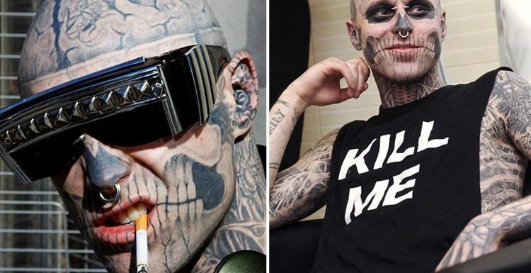 Zombie Boy's family say tattooed star fell to his death by accident but cops say Lady Gaga muse killed himself