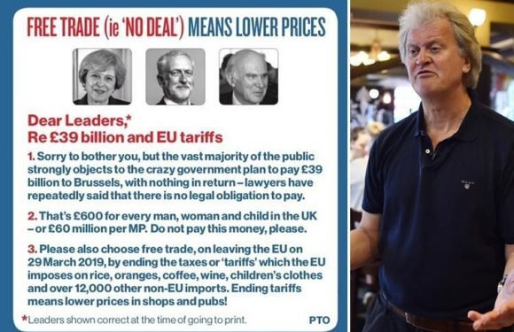 Wetherspoon boss promises lower prices after a 'no deal' Brexit and says we should not pay EU £39bn 'divorce bill'