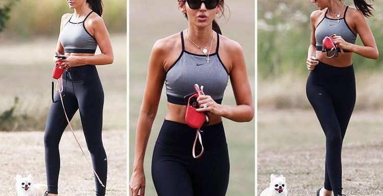 Michelle Keegan looks incredibly glamorous as she takes her dogs for a morning run in Essex