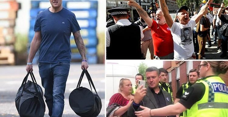 Tommy Robinson pictured leaving prison after winning appeal over contempt of court sentence