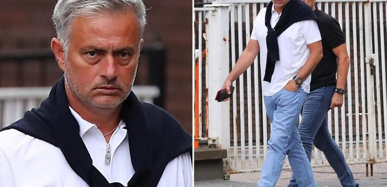 Manchester United manager Jose Mourinho looks glum as he heads out for tapas while facing battle to keep Paul Pogba at Old Trafford