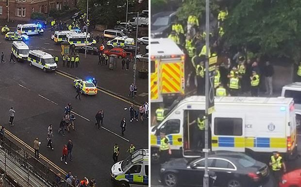 Rangers vs Osijek clash sees two men stabbed in mass brawl on streets outside Ibrox before the game