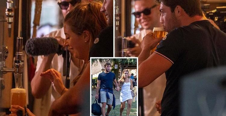 Dani Dyer pulls pints for Jack Fincham and pals in the pub she worked at before winning Love Island