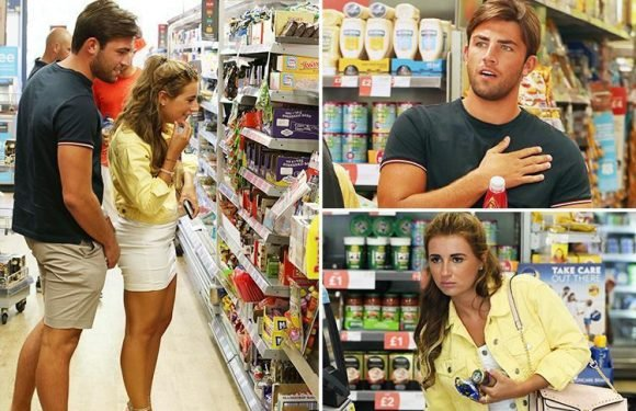 Jack Fincham and Dani Dyer get back to normal life as they pop into Co-Op and visit his old office