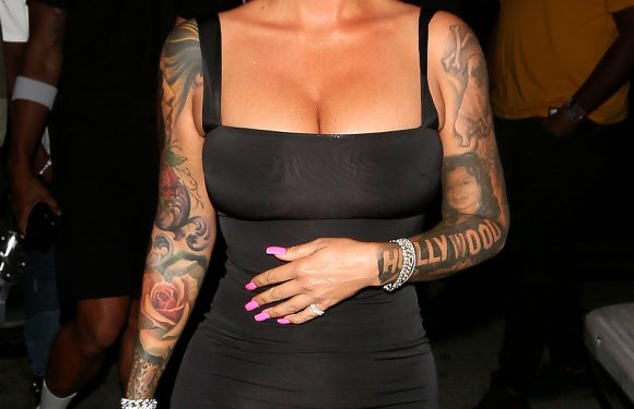 Lady in Lilac! Amber Rose Debuts Purple Hair – See Her New Look