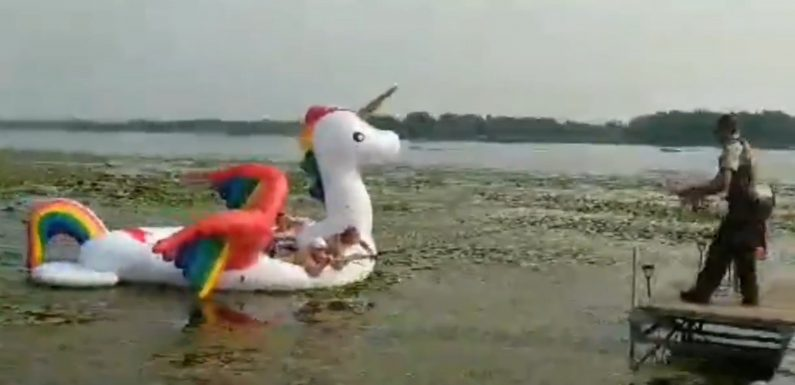 Cops rescue women 'stranded' on unicorn raft