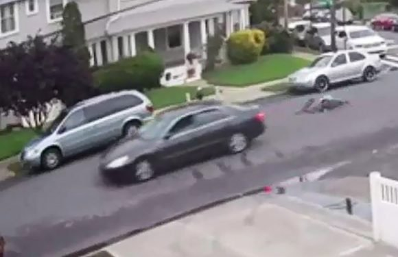The moment a hit-and-run driver rams an 11-year-old boy