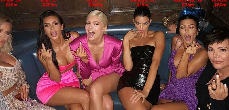 Six Kardashians worth £1.1bn flip the bird on night out for Kylie Jenner's 21st
