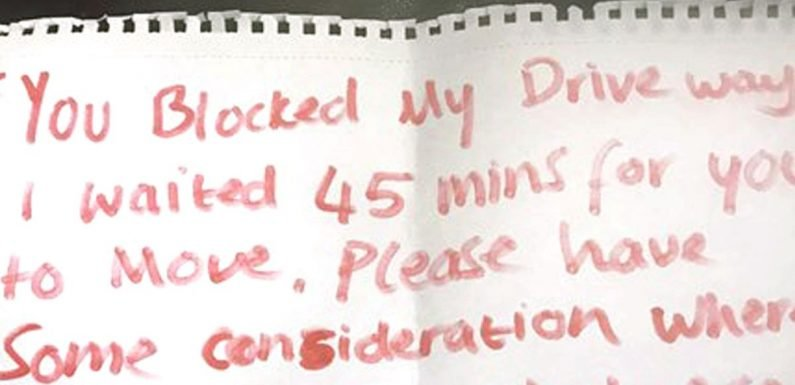 Paramedics find rude note on ambulance slamming their 'inconsiderate' parking