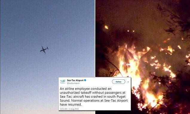 Commercial airliner is 'hijacked from Seattle-Tacoma Airport': reports