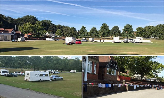 Travellers invade cricket ground forcing match to be CANCELLED