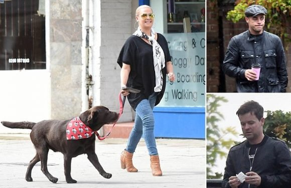 Lisa Armstrong beams as she steps out with her dog Hurley