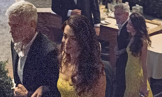 Amal Clooney looks elegant in a yellow maxi on dinner date with George