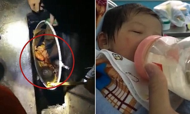 Newborn girl saved from cesspit after being abandoned by mother