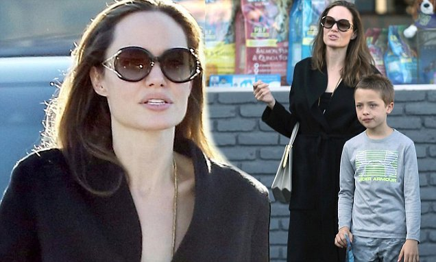 Angelina Jolie spends the day with Knox and Shiloh