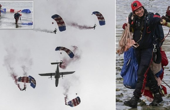 RAF parachutists left red-faced after failing in daring display