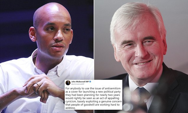 McDonnell says Labour MPs are using anti-Semitism to form new party