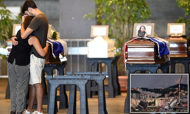 Coffins are wheeled out for funeral of Genoa bridge tragedy victims
