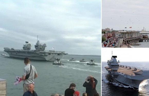 Royal Navy's £3bn warship HMS Queen Elizabeth sets sail for US