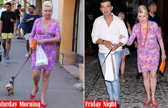 Ivana Trump dons last night's dress while walking her dog in St Tropez