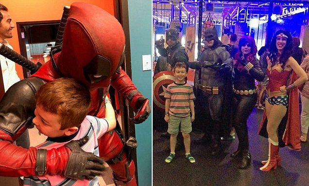 Cosplay superheroes throw seven-year-old boy do-over party birthday