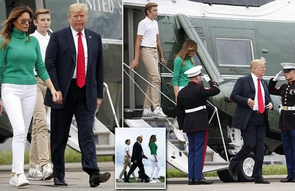 Barron Trump joins his parents for flight back to DC