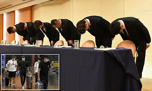 Japanese athletes bow in apology after sleeping with prostitutes