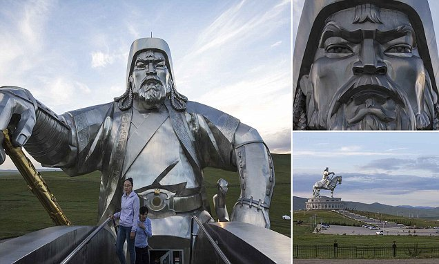 Tourists scale the iconic 130ft statue of Genghis Khan in Mongolia